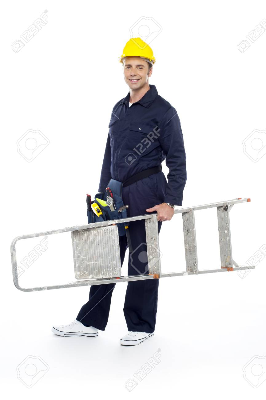 Repairman holding stepladder, ready to go to work. All on white background Stock Photo - 15243603
