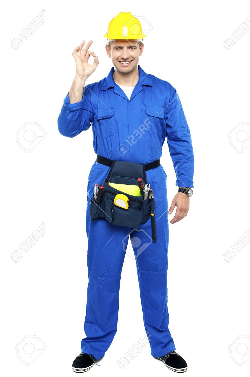 Keep up the good work. Repairman gesturing. Full length portrait Stock Photo - 15338389