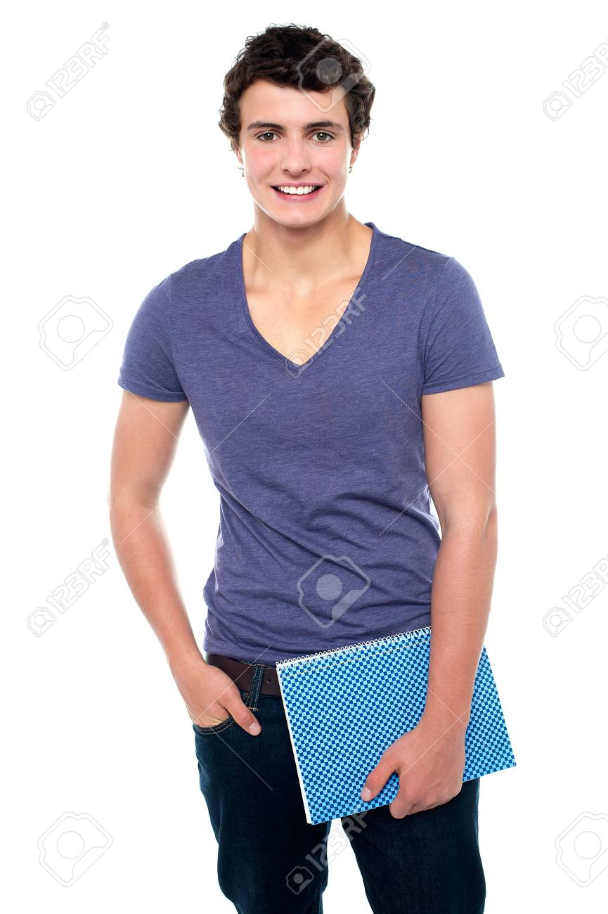 Stylish teenager posing casually in denims isolated against white background Stock Photo - 15715002