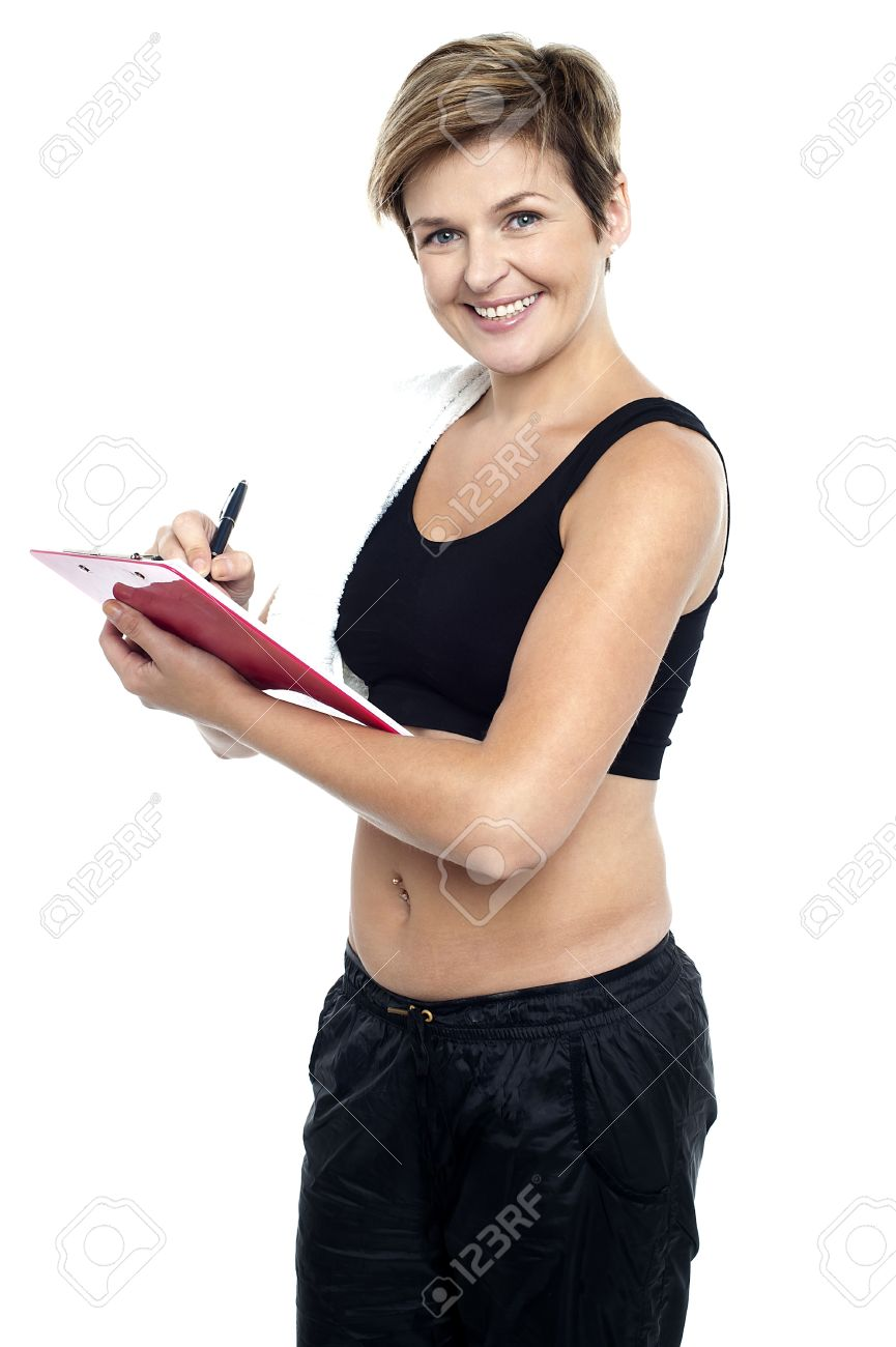 Female Gym Instructor Writing Diet Chart For Trainees. All On ...
