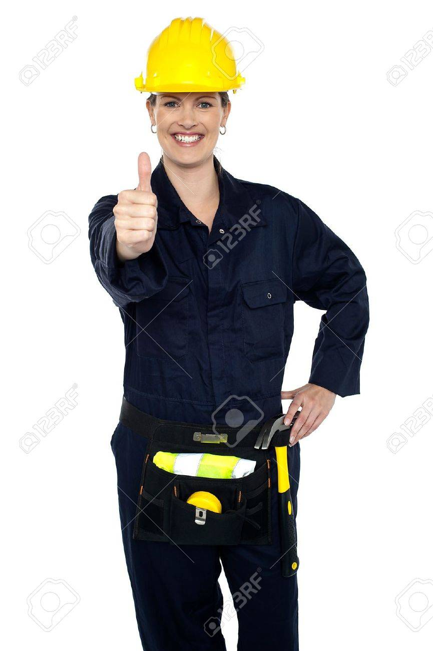 keep up the good work confident lady worker showing thumbs up keep up the good work confident lady worker showing thumbs up to you stock