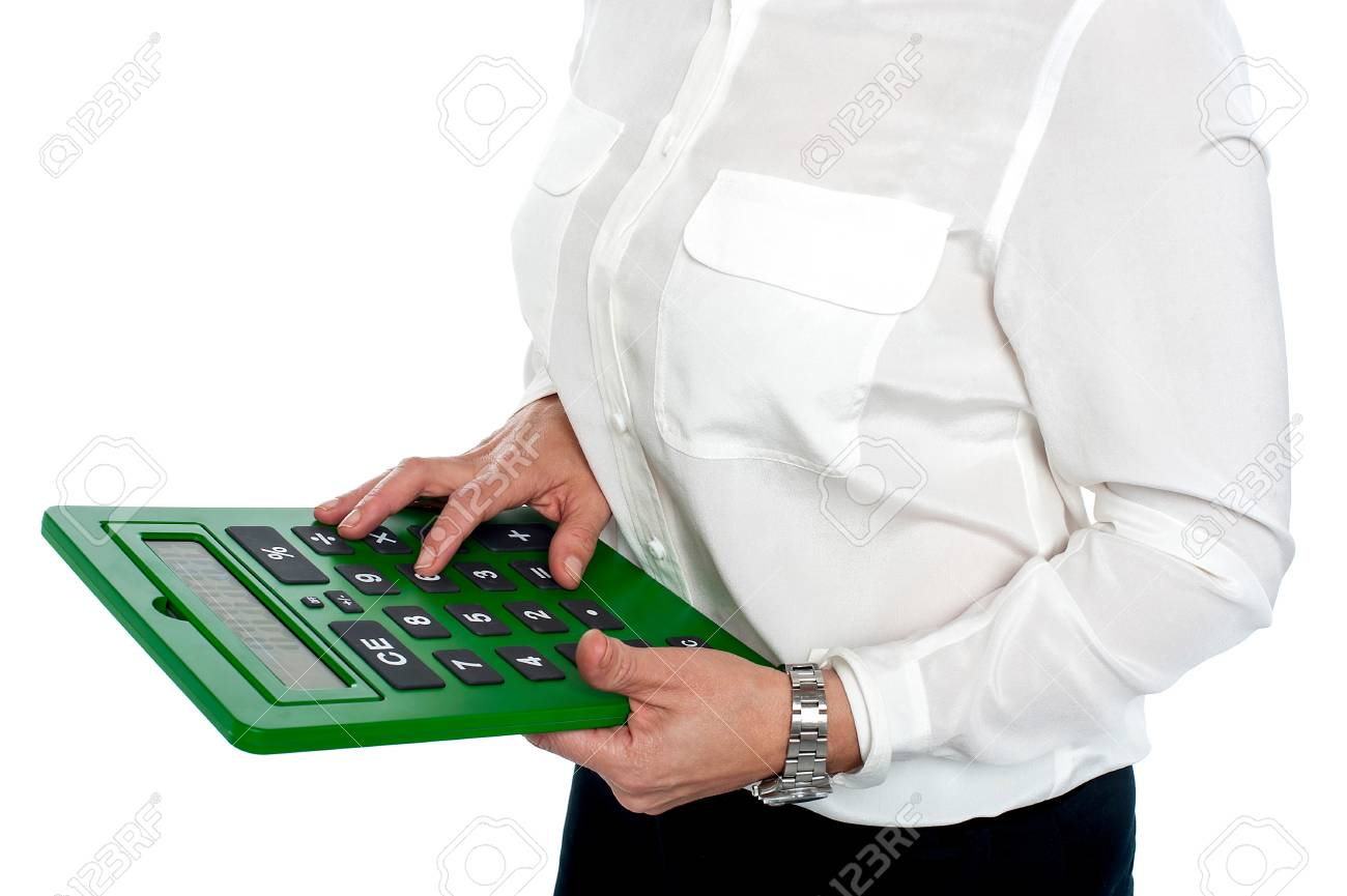 Woman pressing digit 6 on calculator, cropped image. Stock Photo - 17044576