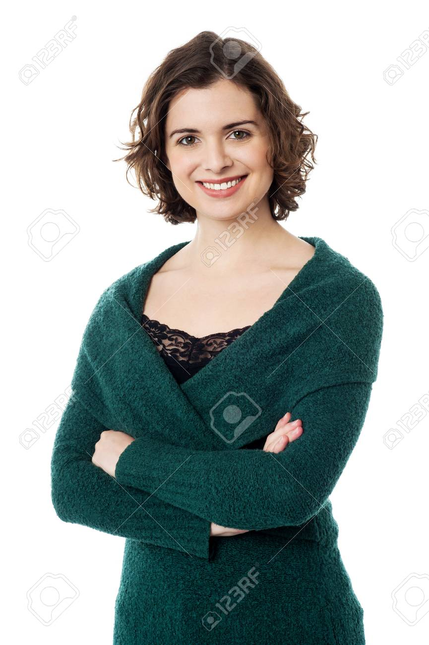 Pretty woman in stylish winter wear posing confidently and smiling Stock Photo - 18293453