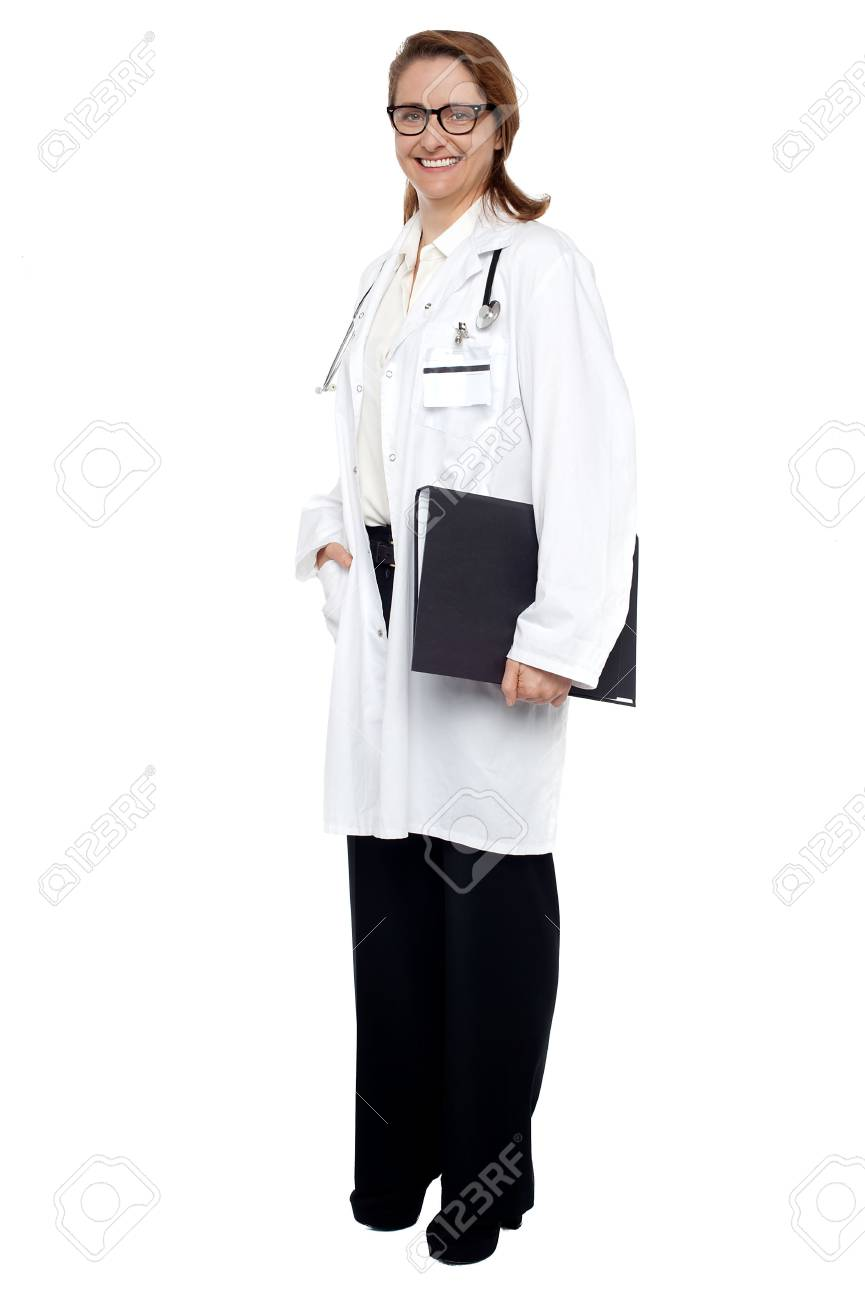 Full length shot of a physician holding medical file. Stock Photo - 17643571