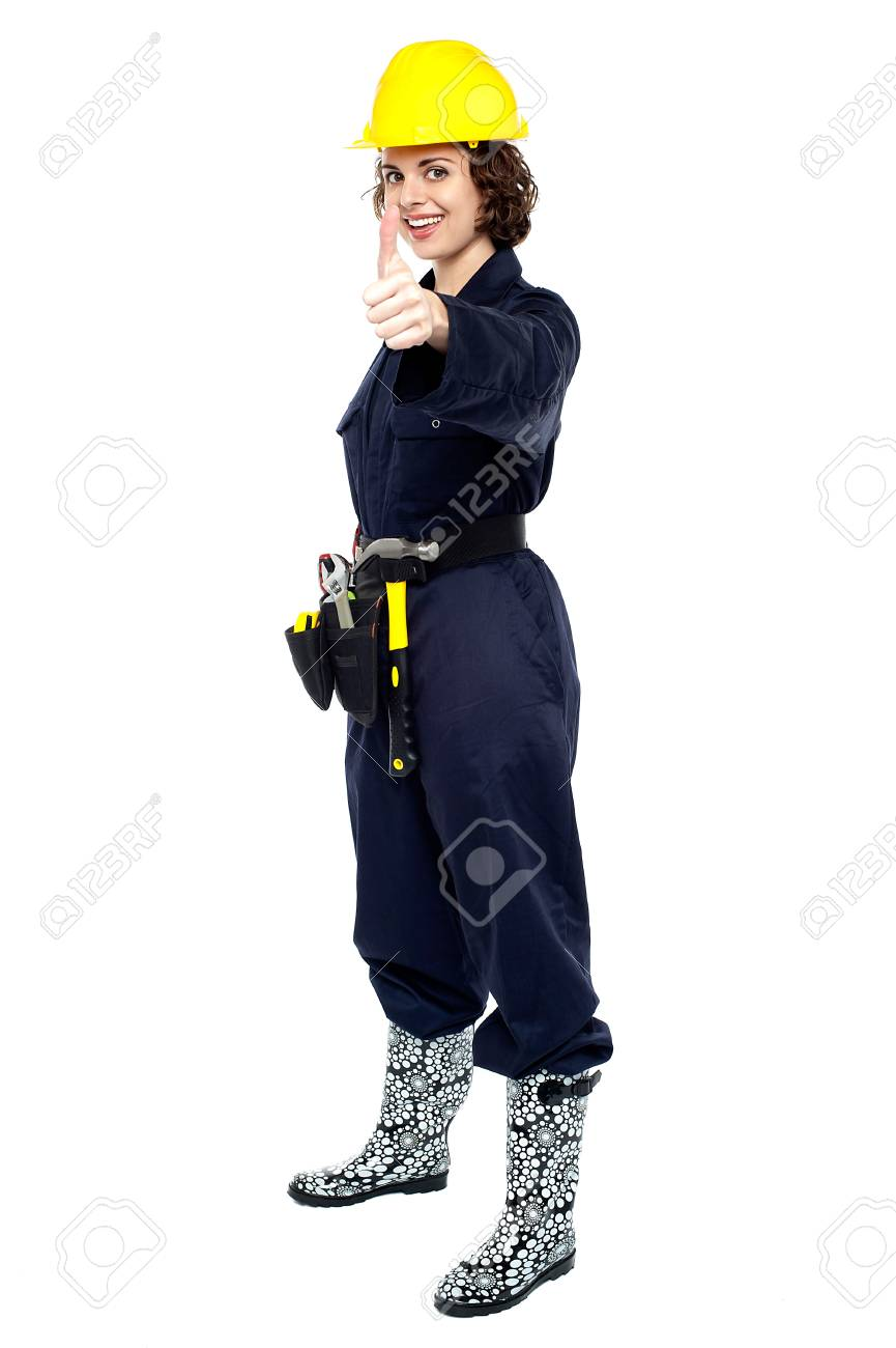 Female construction engineer in uniform gesturing thumbs up. Stock Photo - 17846259