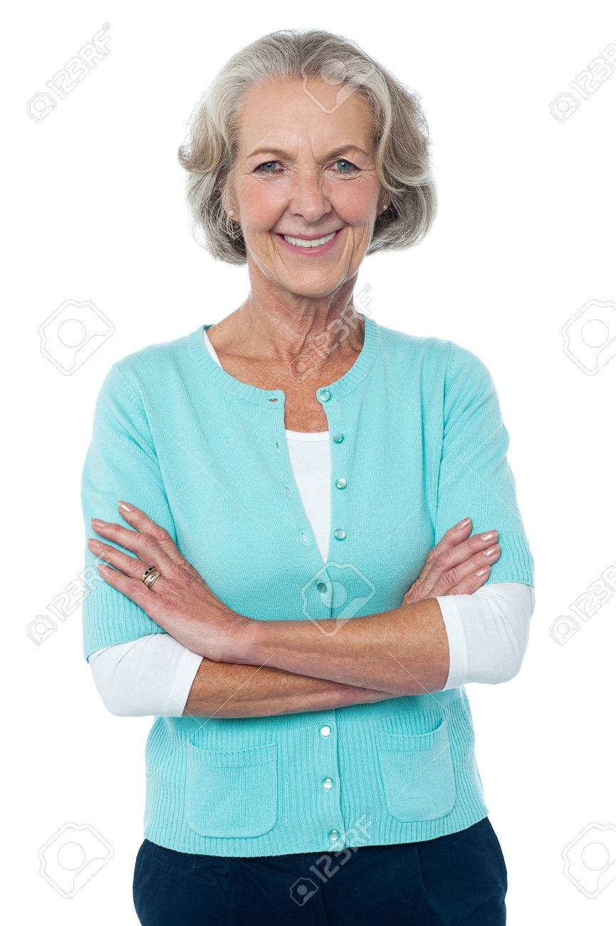 Confident smiling beautiful aged woman in trendy wear Stock Photo - 22181375