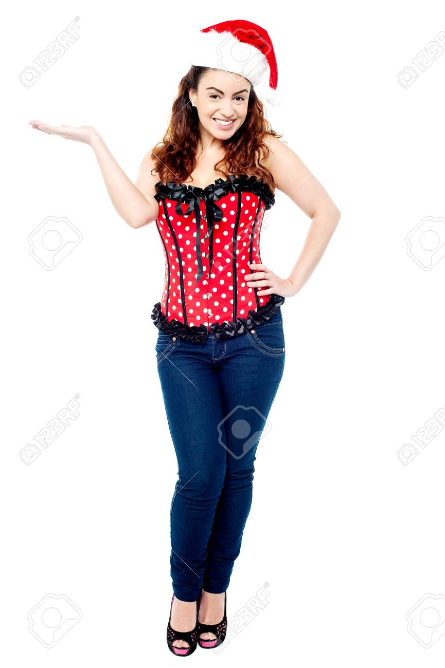 Gorgeous young beauty presenting something Stock Photo - 22938087