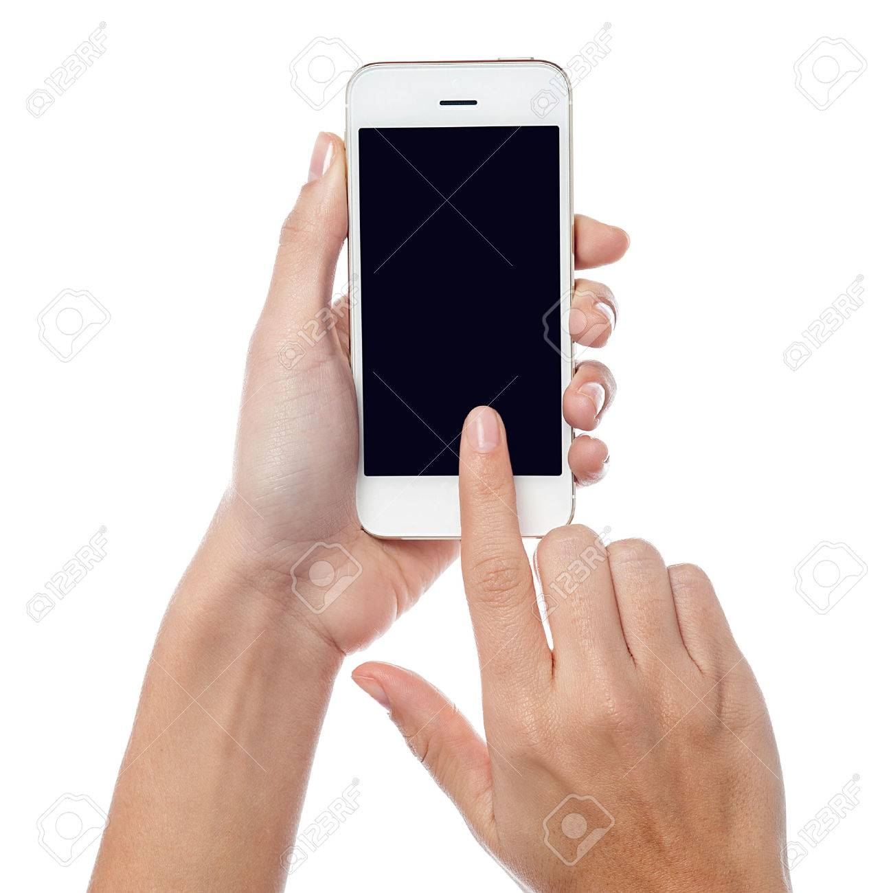 women hodling and operating touch screen phone Stock Photo - 24628444