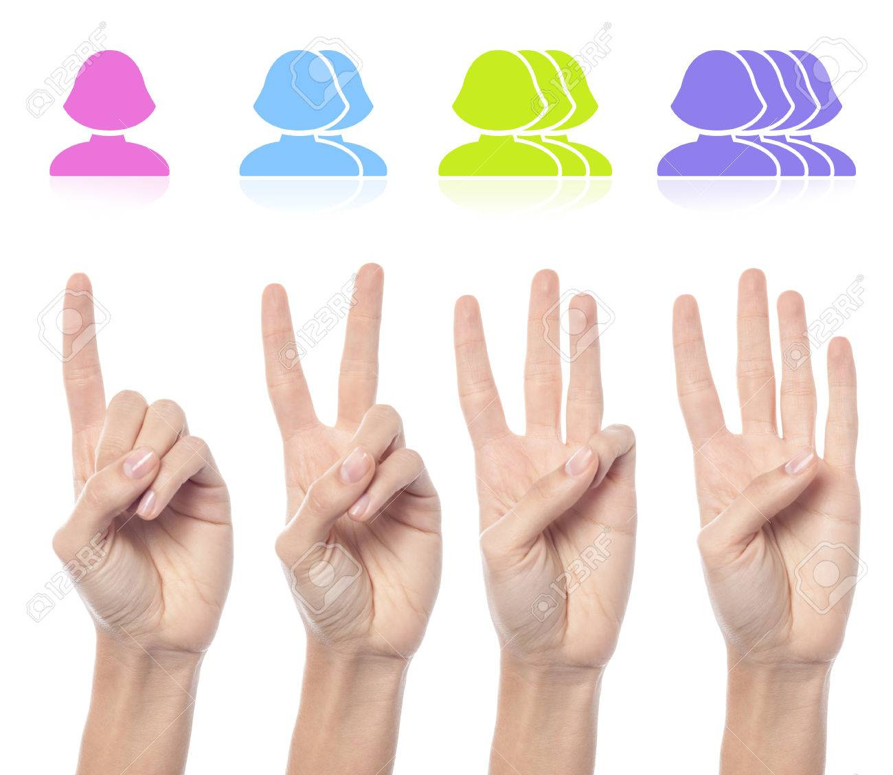 Counting woman hands with female smileys - 60524486