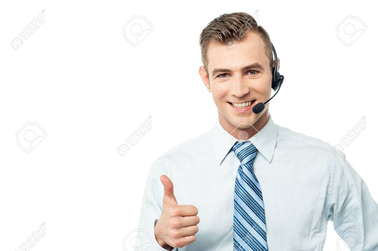 Customer support executive showing thumbs up Stock Photo - 40522157