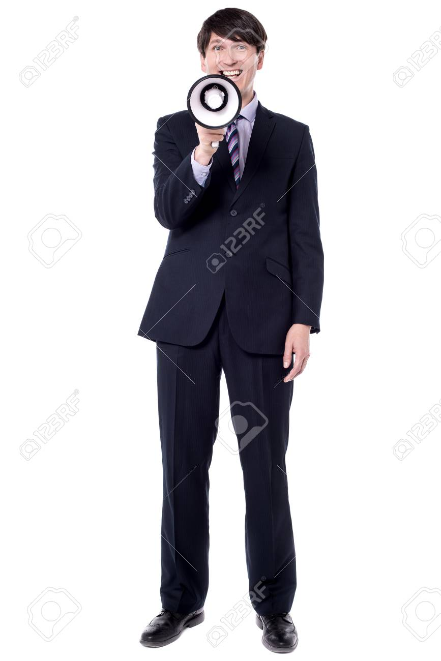 Full length image of businessman making announcement. - 60379377