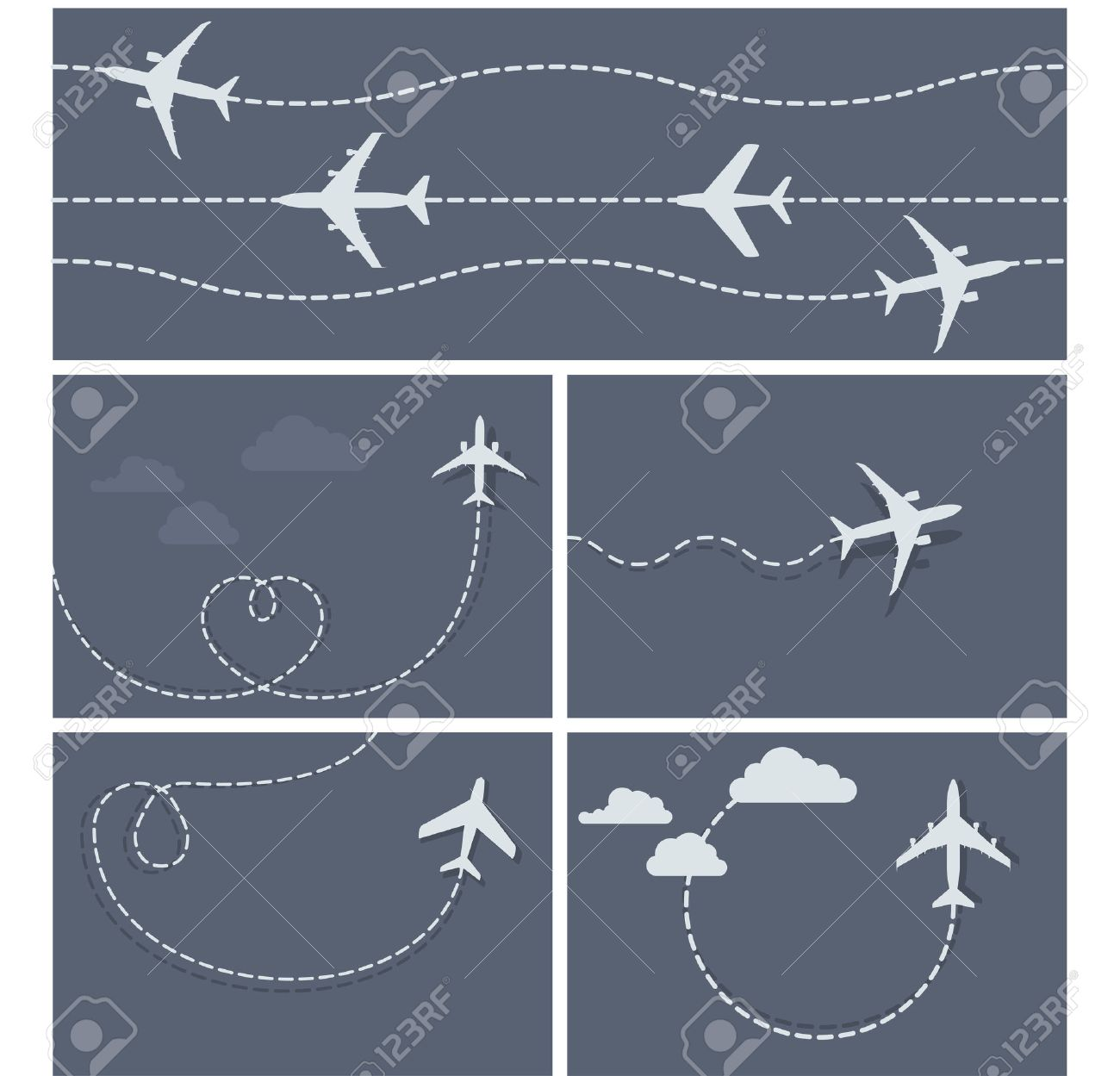 Plane flight - dotted trace of the airplane, heart-shaped and loop - 42336644