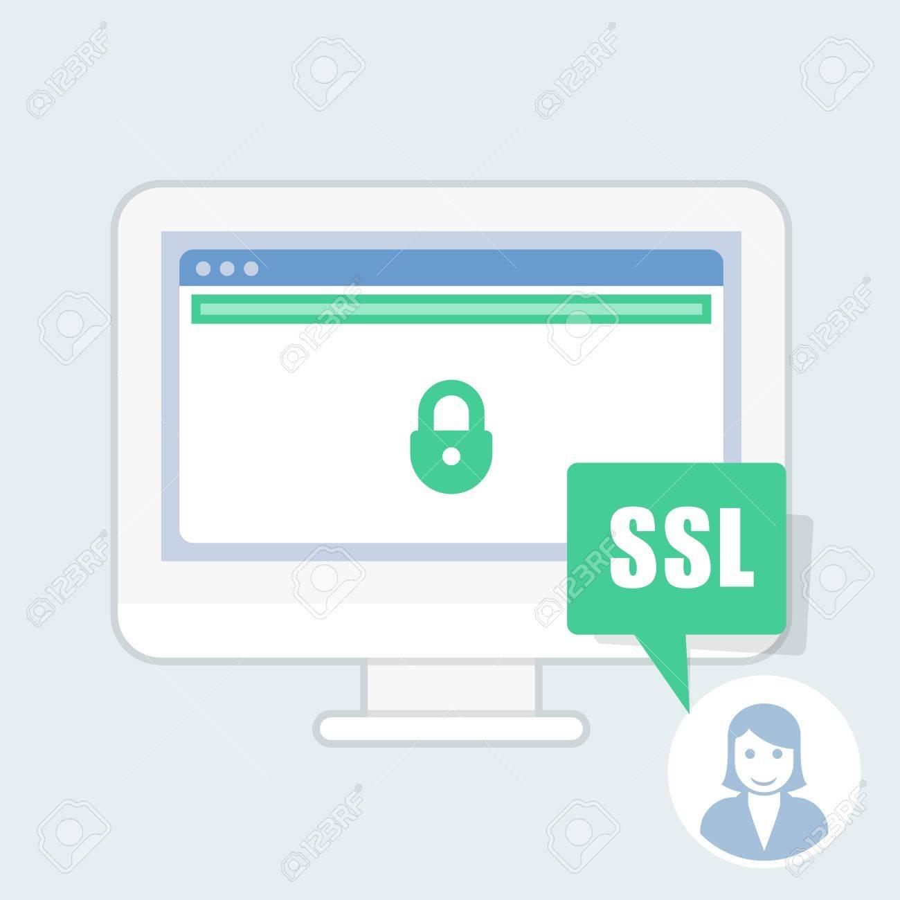 Ssl Certificate Notice Green Address Bar Website Royalty Free