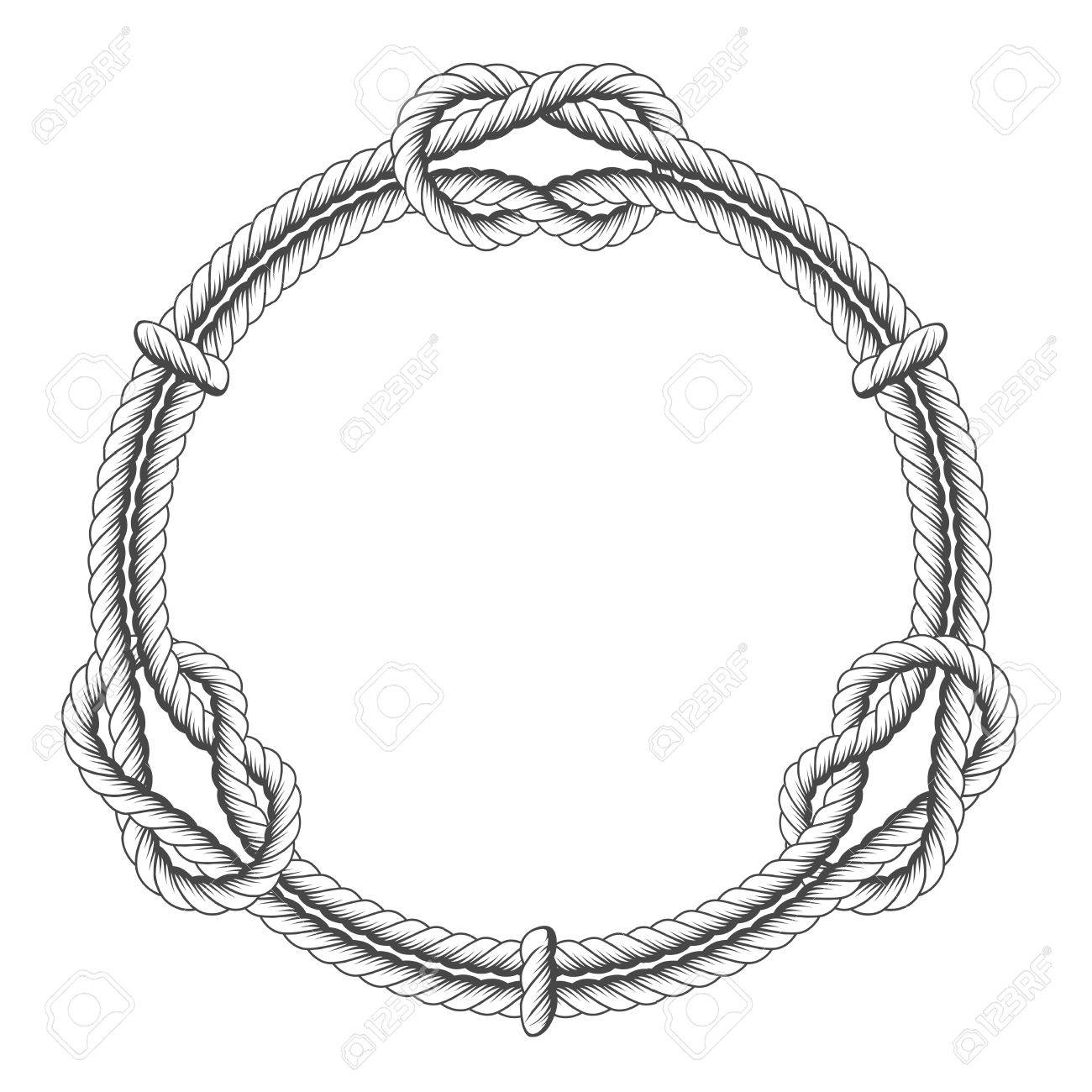 Twisted rope circle - round frame with knots - 75949631