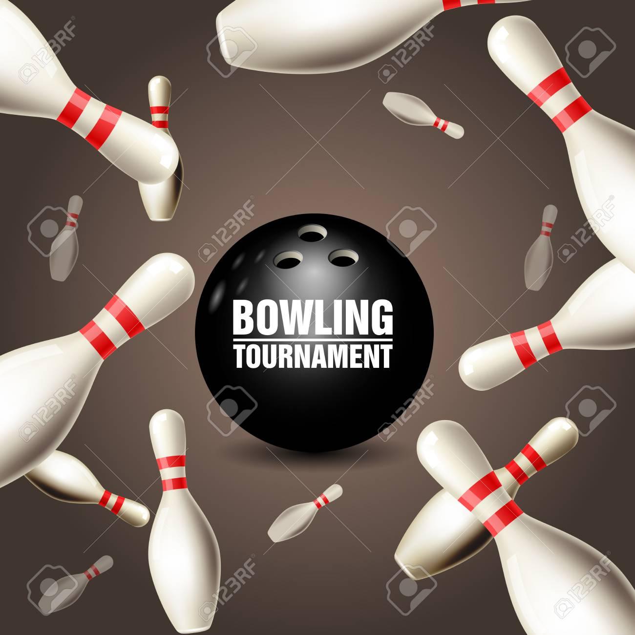 Tarjeta De Invitación De Torneo De Bolos Marco De Bolos Flotantes Y Bola