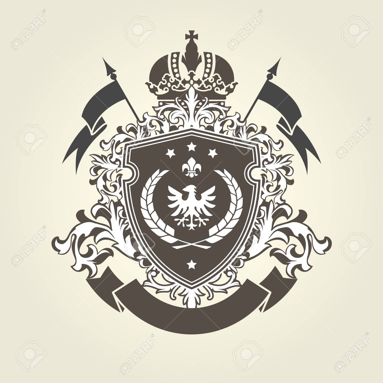 Royal Coat Of Arms Heraldic Blazon With Crown And Shield With