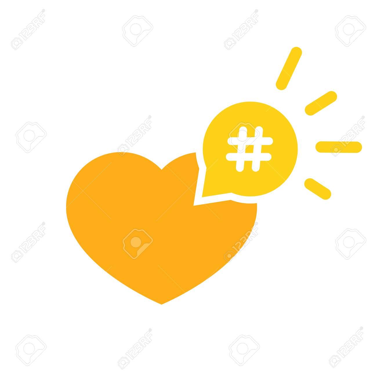 Foto de archivo - Icono hashtag como corazón - promoción de citas y el  mensaje de entretenimiento concepto excelente .