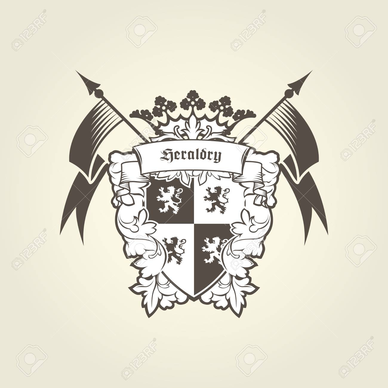 Royal Coat Of Arms Heraldic Blazon Emblem With Shield Lions