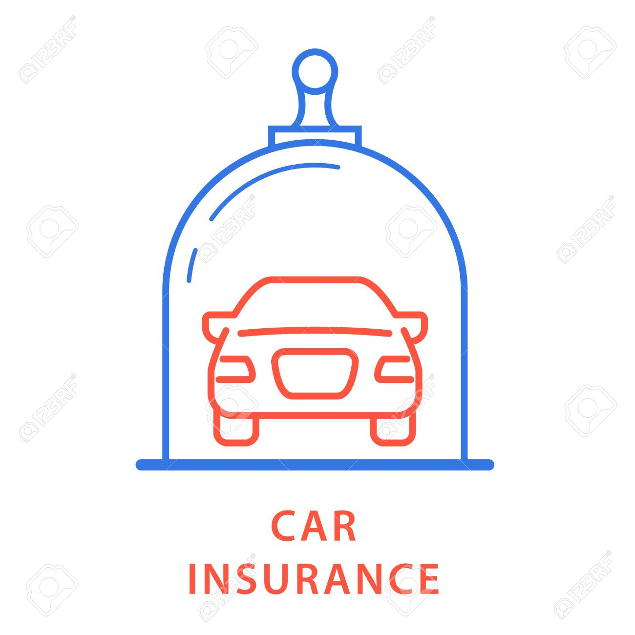 Vehicle insurance icon - car under glass dome, insurance protection - 140208660