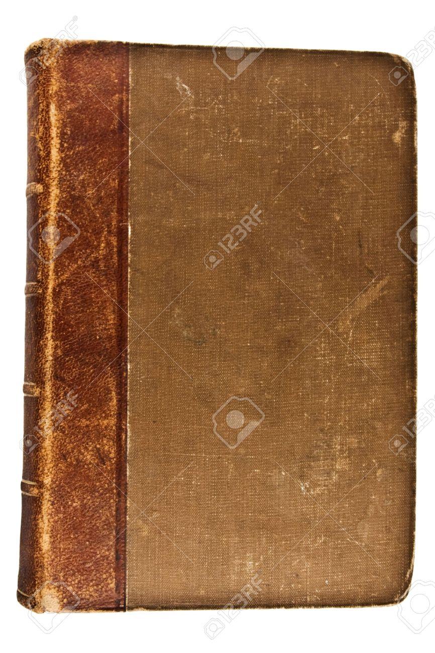 Geschlossen Auf Weissem Hintergrund Old BookIsolated Aufsicht Standard Bild