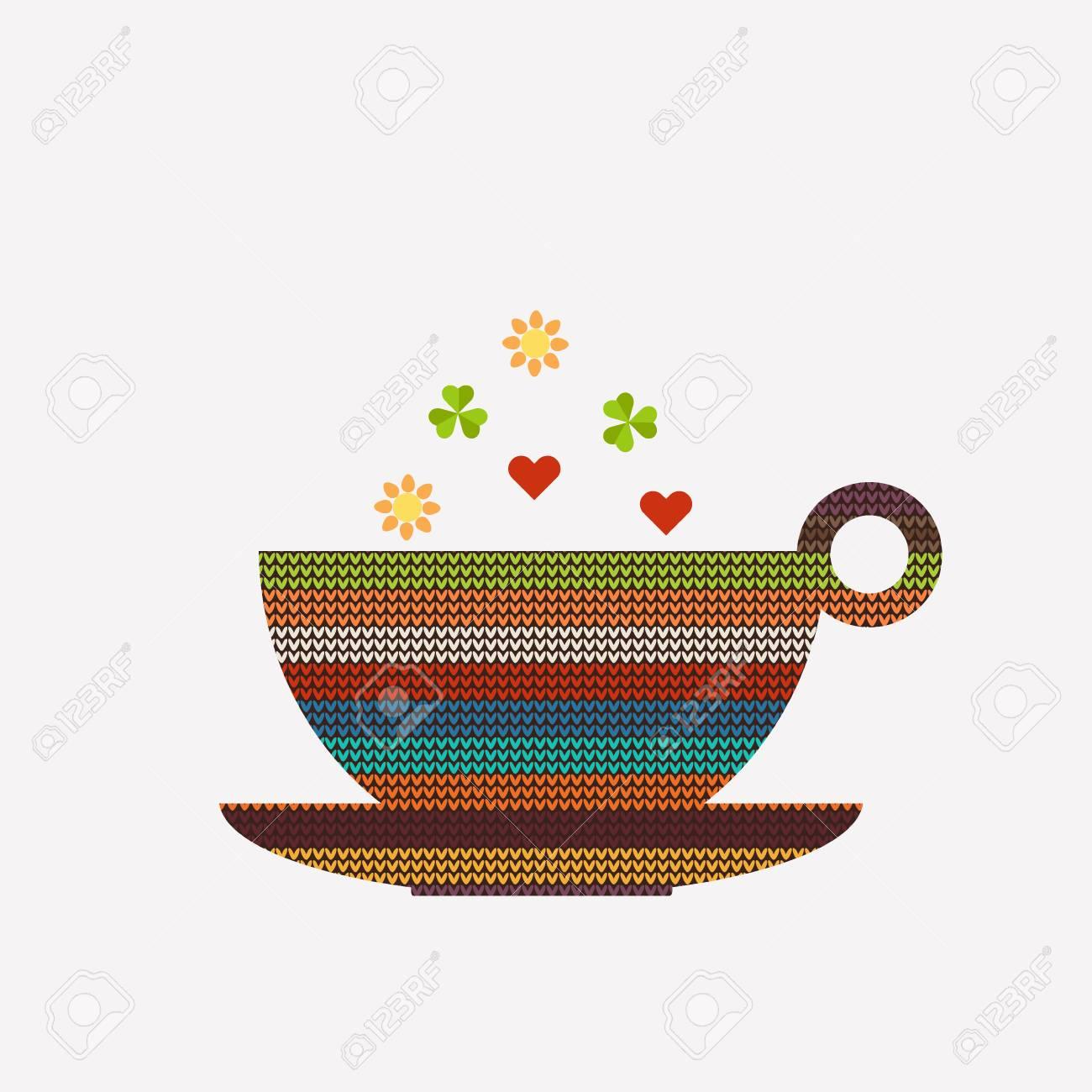 Resumen Taza De Café / Té, Hecho De Colorido Patrón De Punto Con ...