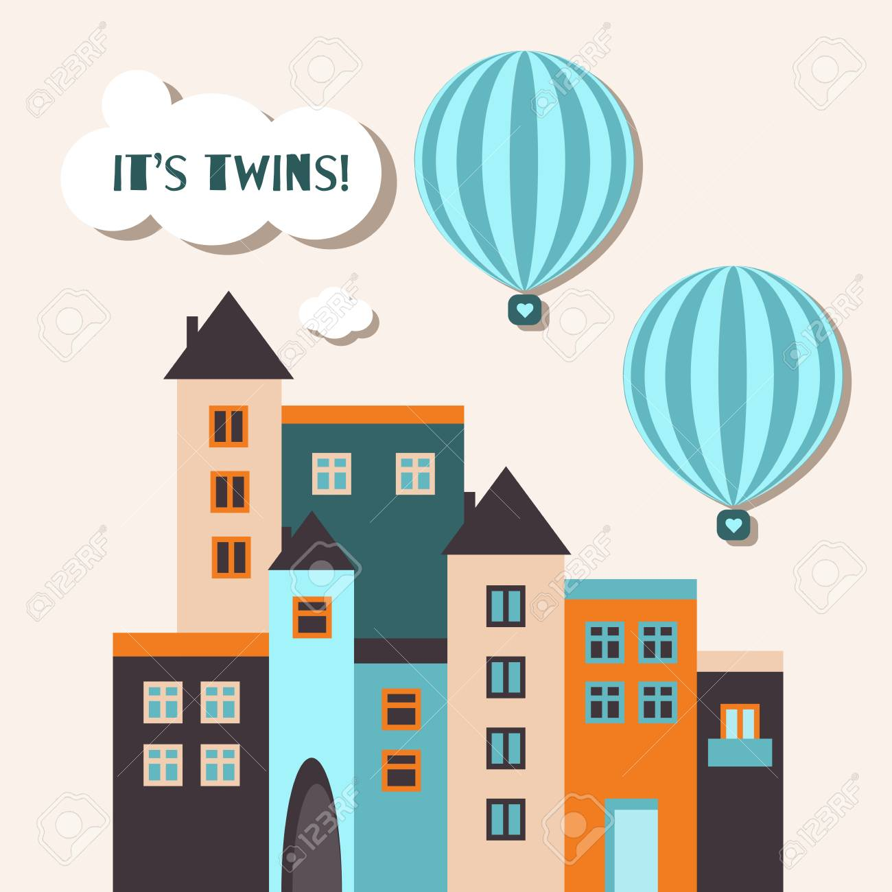 It S Twins Baby Shower Card Twin Boys With Hot Air Balloons Royalty Free Cliparts Vectors And Stock Illustration Image 118200435