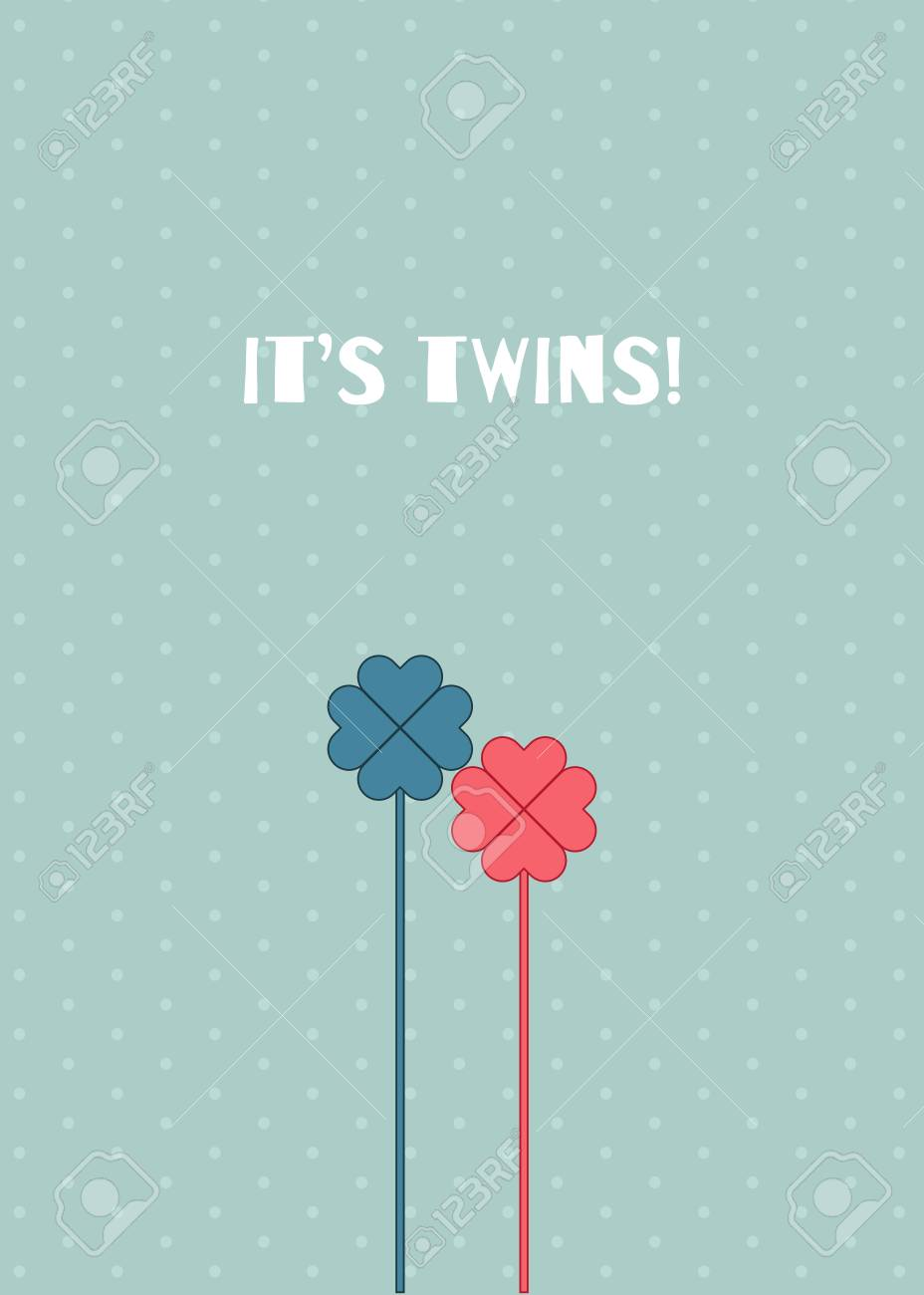 It S Twins Baby Shower Card A Boy And A Girl Royalty Free Cliparts Vectors And Stock Illustration Image 118200436