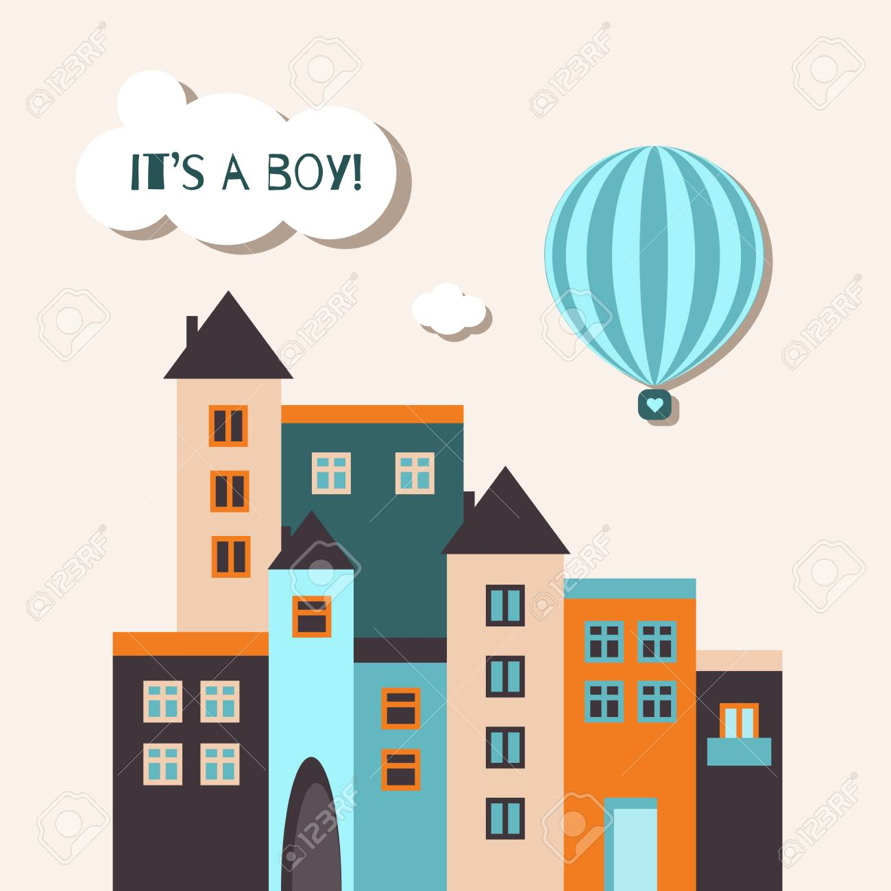 It S A Boy Baby Shower Card With Blue Hot Air Balloon And Vintage