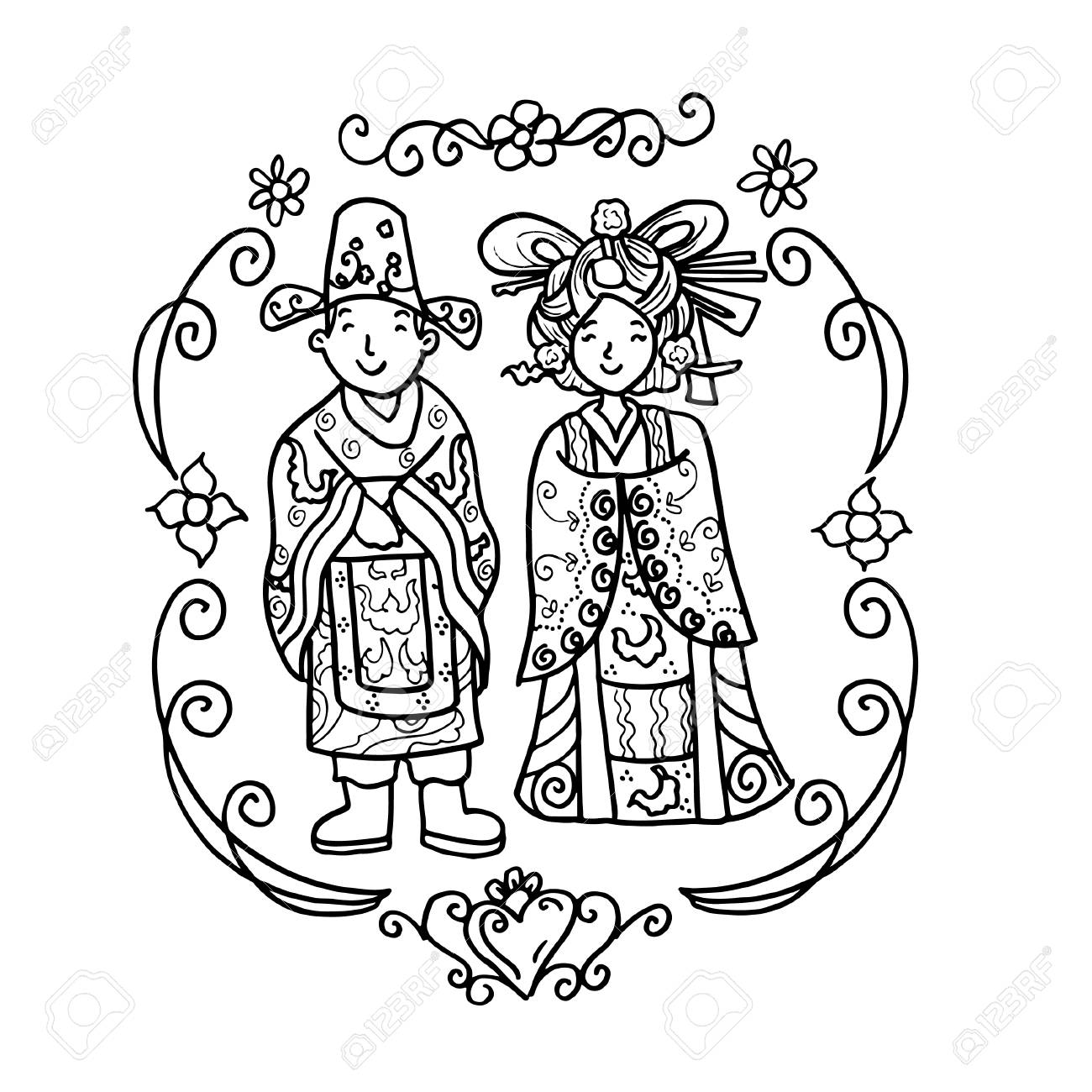 Vector Creative Illustration Coloring Book With Chinese Wedding