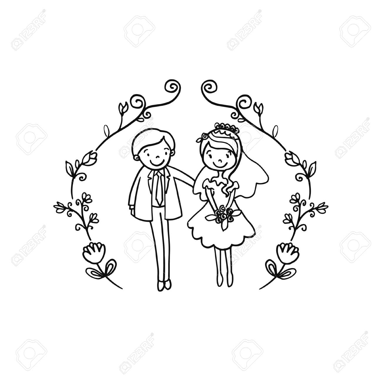 Vector Creative Illustration Coloring Book With Couple Wedding