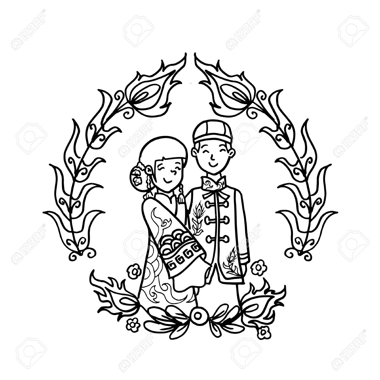 Vector Creative Illustration Coloring book with Chinese Wedding..