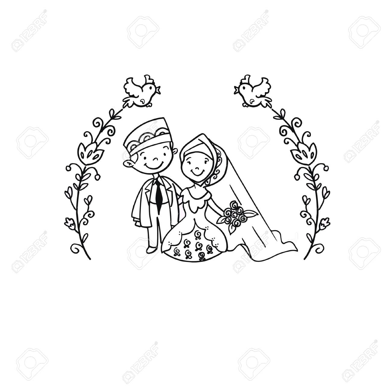 A Vector Creative Illustration Coloring Book With Moslem Wedding Couple