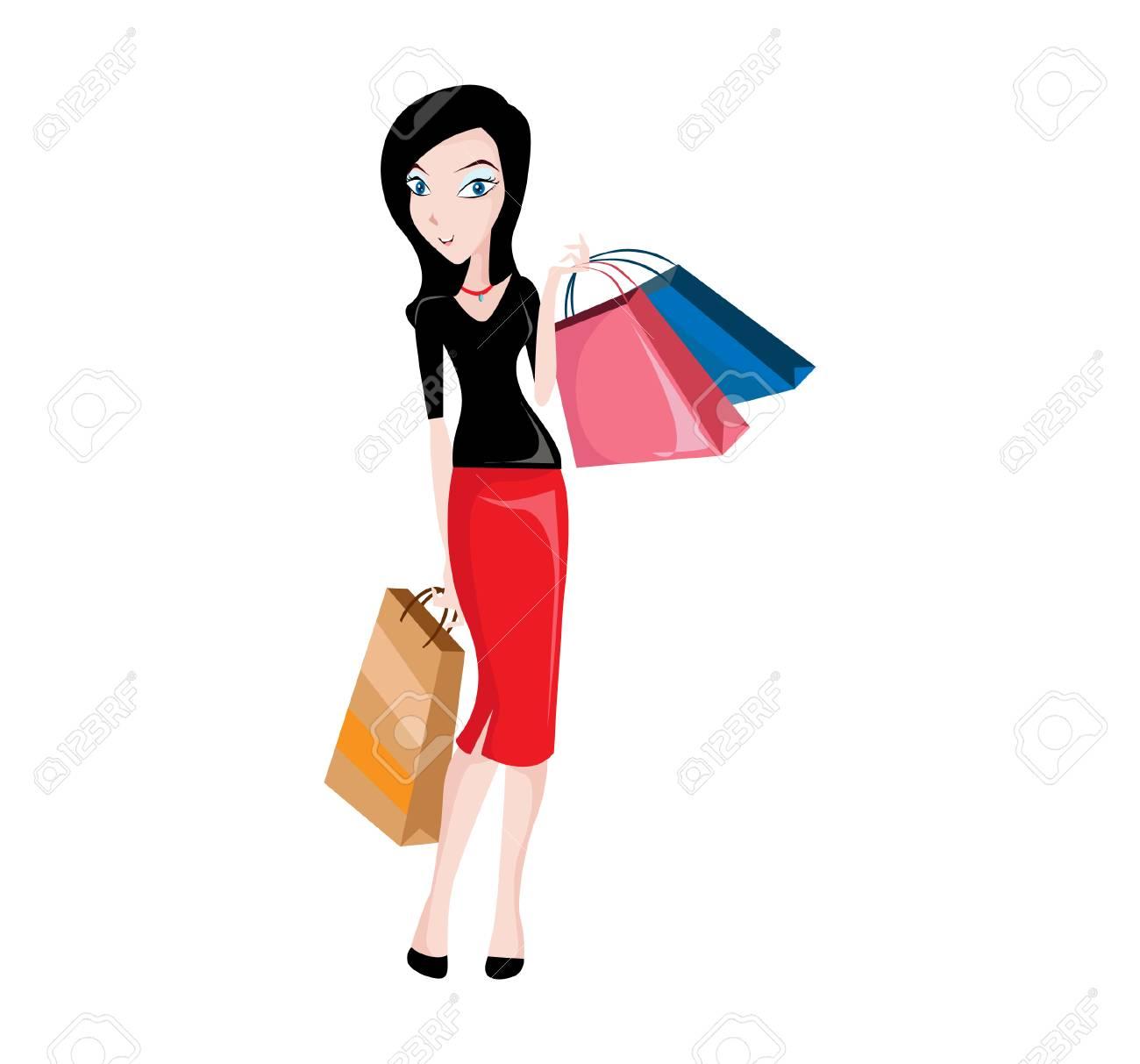 bb5d6f492 Foto de archivo - Ilustração vetorial Mulheres de compras felizes que você  pode usar para a figura do site