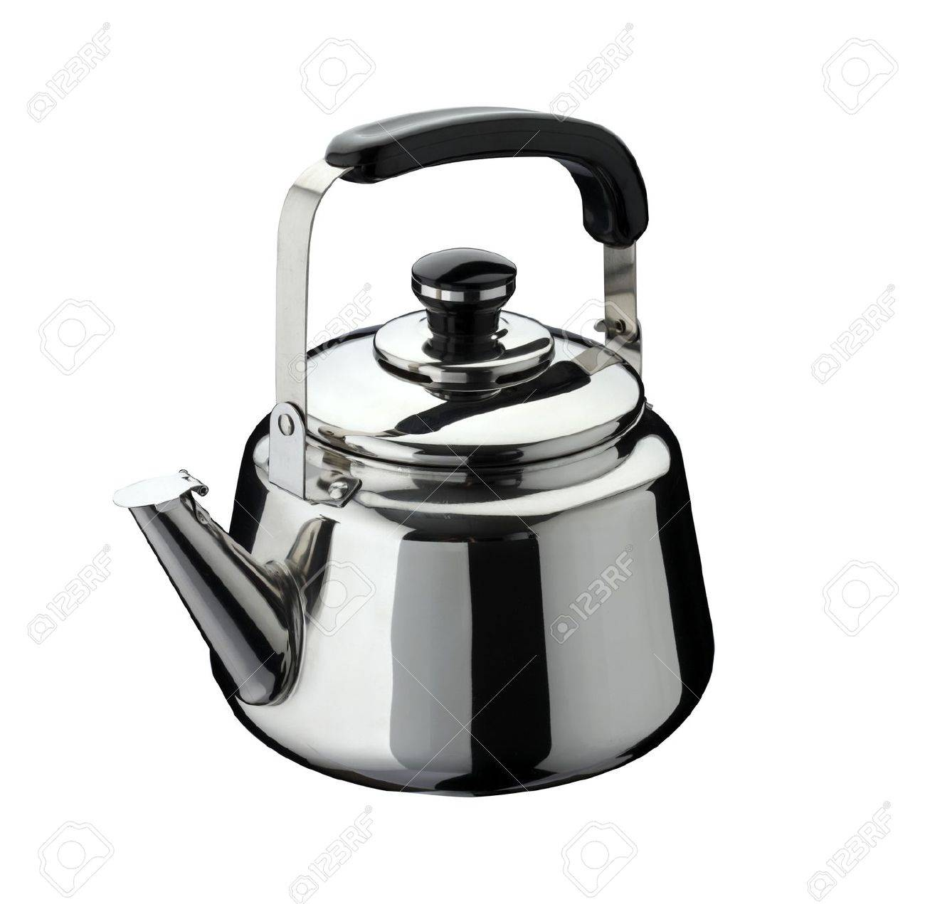 kitchen tools: kettle on stainless steel, isolated on white background Stock Photo - 12274423