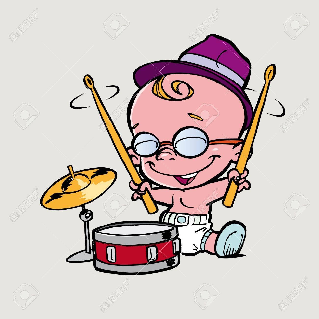 little boy play drum Stock Photo - 13169897
