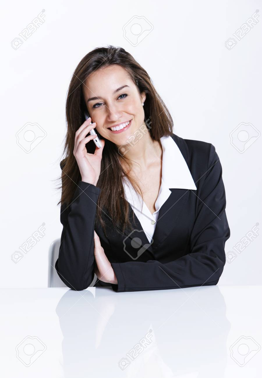 Close-up of a businesswoman talking on the mobile phone. Stock Photo - 13410553