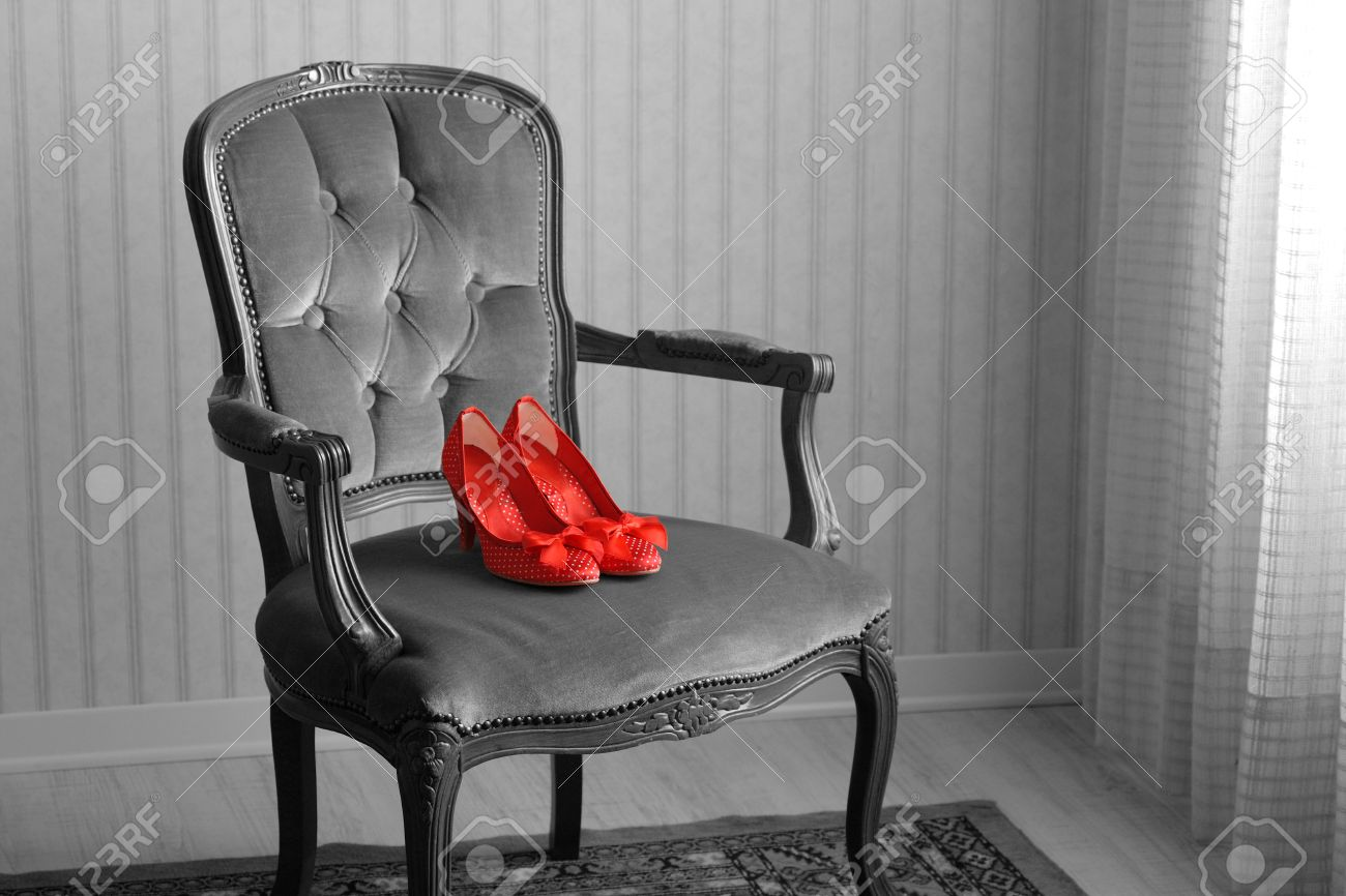 Baroque Chair And Red Womenu0027s Shoes In An Empty Room Stock Photo   19500832