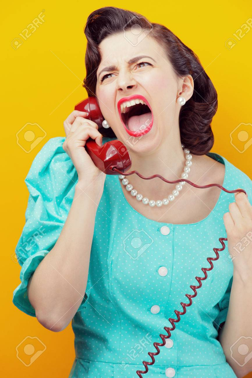 Vintage Woman shouting into telephone Stock Photo - 22809666