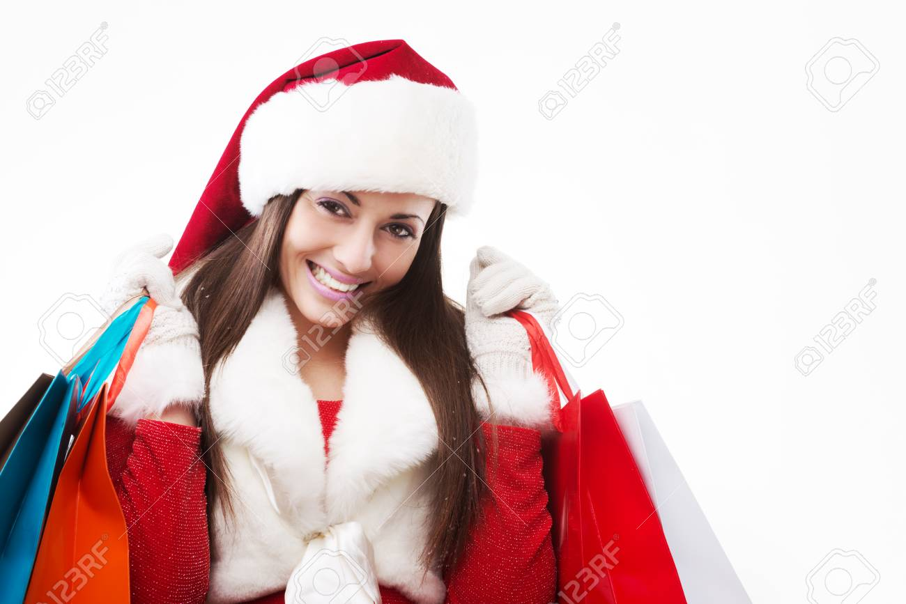 Young beautiful woman shopping for christmas gifts Stock Photo - 24427040