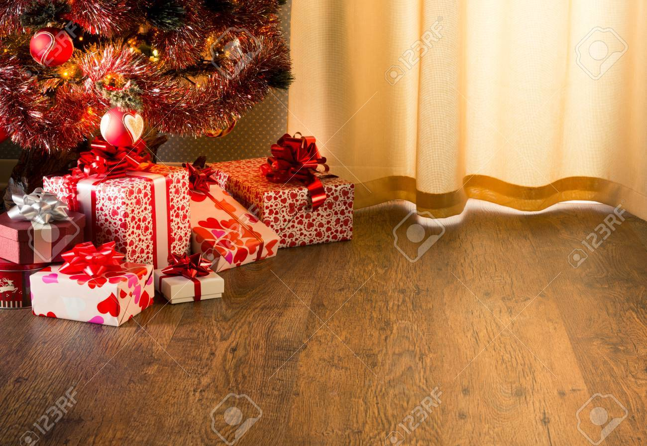 Colorful Christmas Tree With Red And White Gift Boxes On Elegant Stock Photo Picture And Royalty Free Image Image 31300516