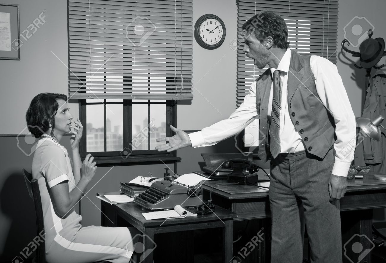 Furious Director Arguing With Young Secretary, 1950s Vintage Office. Stock  Photo   33088315