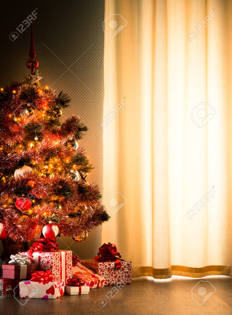 Colorful Christmas Tree With Red And White Gift Boxes On Elegant Stock Photo Picture And Royalty Free Image Image 34034758