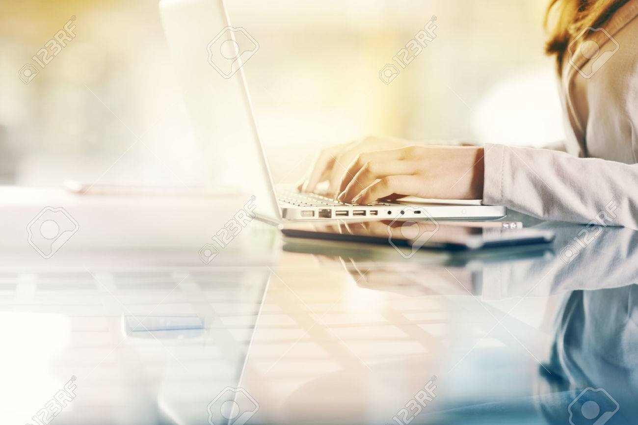 Professional business woman at work with laptop hands close up Stock Photo - 39446946