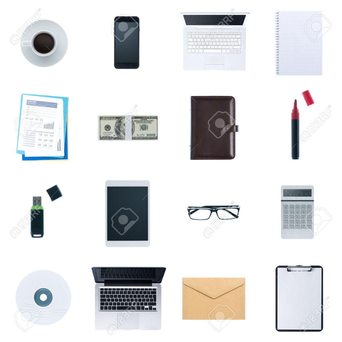 Business desktop objects isolated on white background: laptop, tablet, smartphone, calculator usb stick, paperwork and other items, top view Stock Photo - 41131012