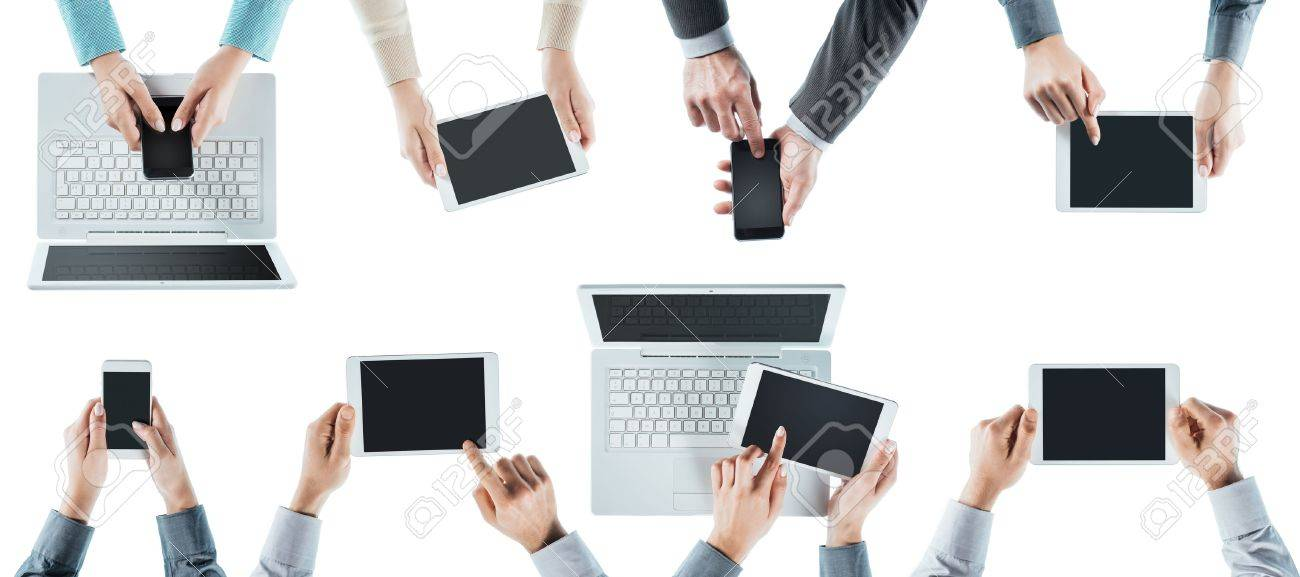 Business people team social networking, using computers, tablets and smartphones, top view, white background Stock Photo - 41135048
