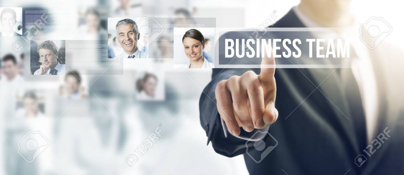 Businessman touching a ghost button on a touch screen interface,