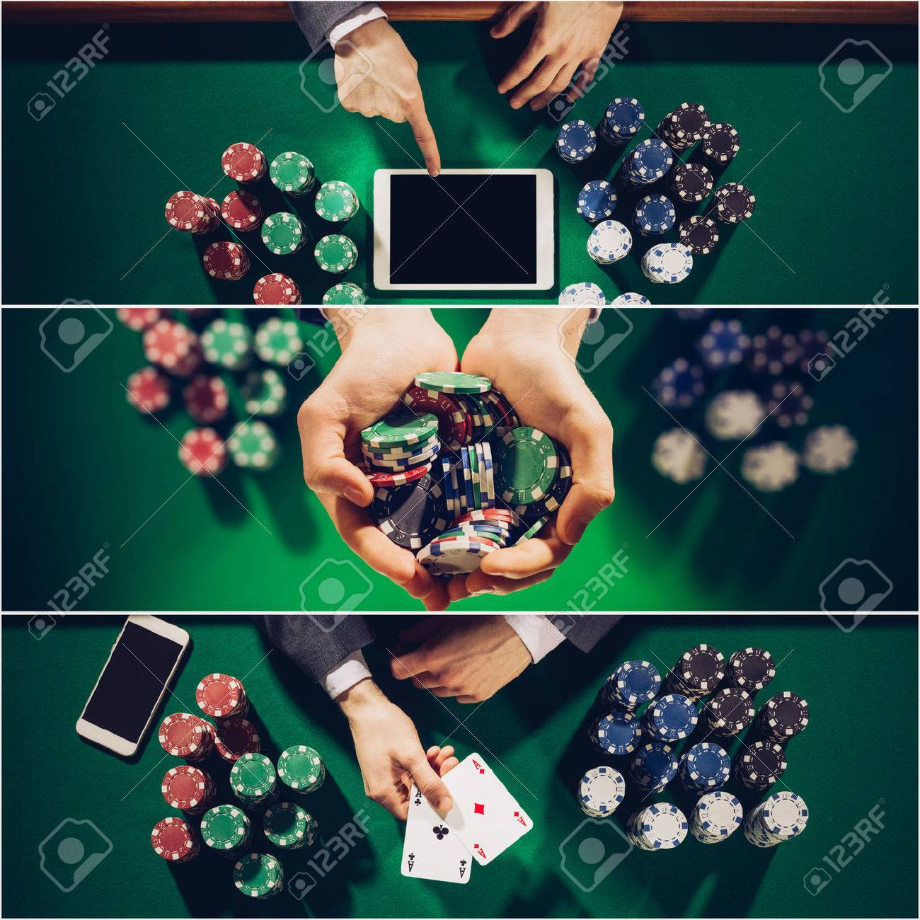 Poker and Casino collage of pictures, top view Stock Photo - 47105497