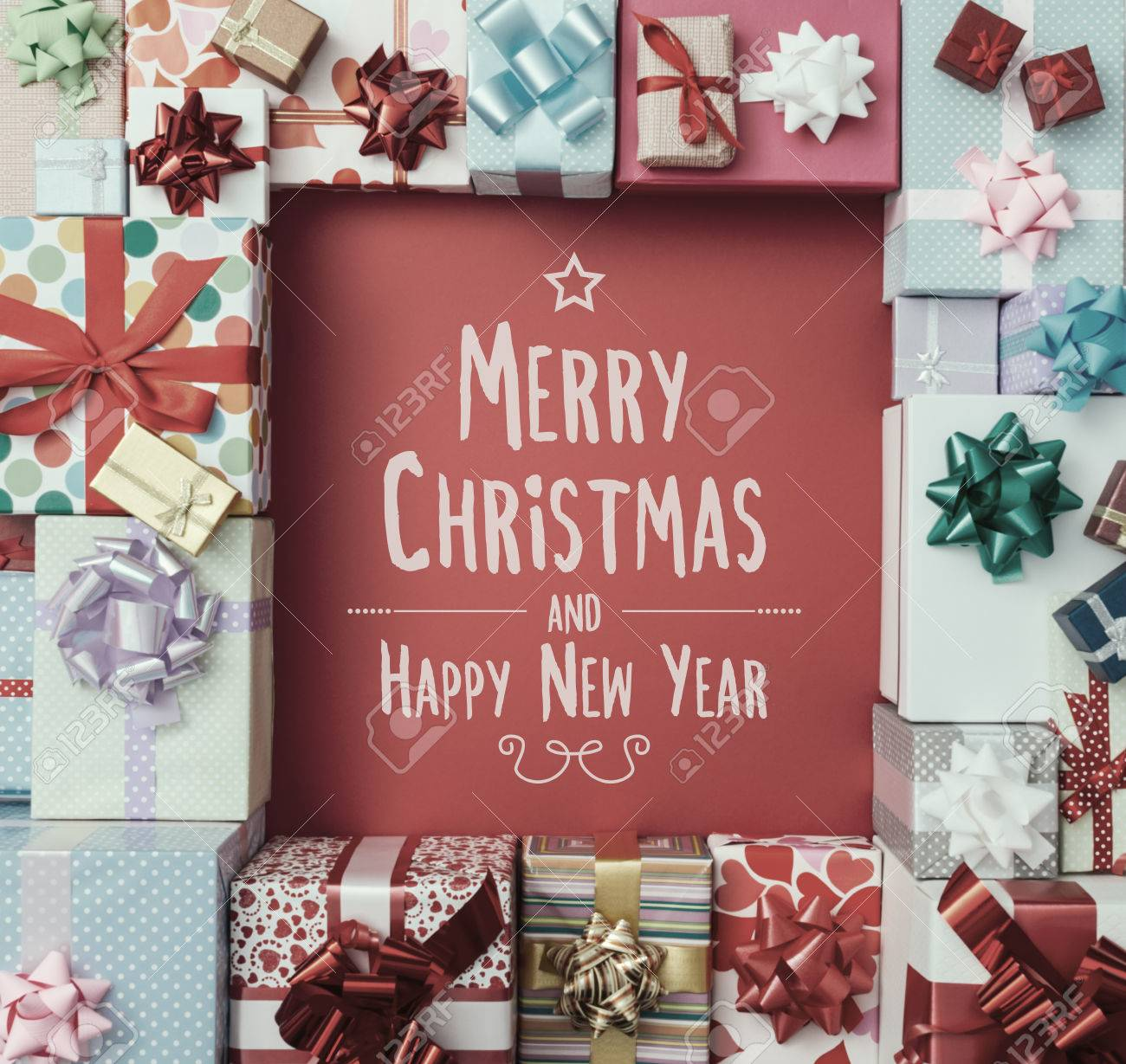 merry christmas and happy new year message top view stock photo 48720635