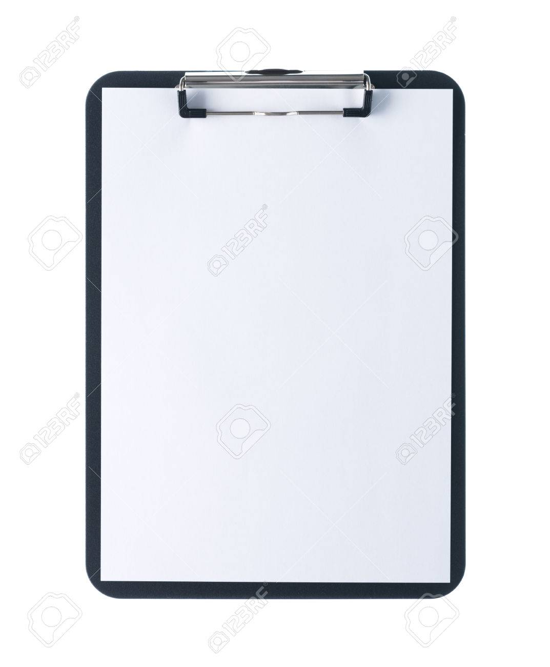 Black clipboard with blank white sheet attached on white background Stock Photo - 50113864