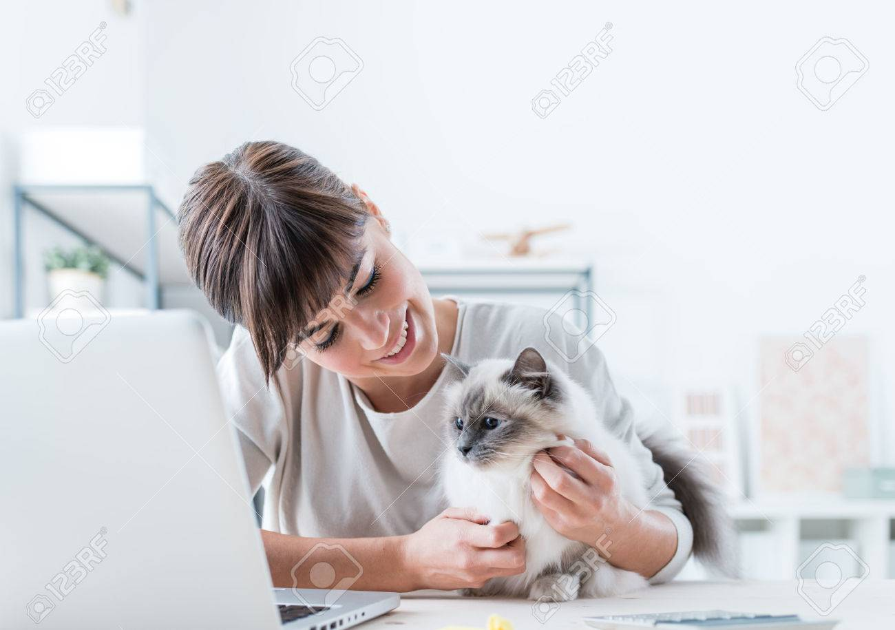 Young woman sitting at desk and cuddling her lovely cat, togetherness and pets concept Stock Photo - 52944778